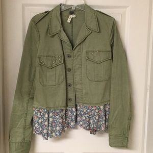 Free People Olive Green jacket with floral peplum